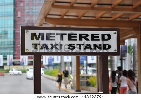 Metered taxi stand sign