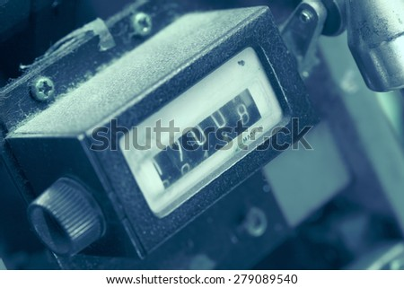 Metering device as a fragment of industrial machinery - stock photo