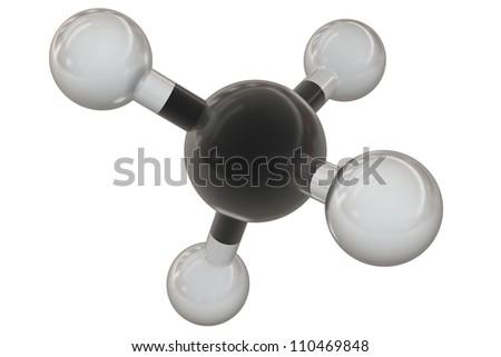 Methane molecule isolated on white background - stock photo