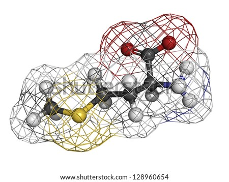 Methionine (Met, M) amino acid, molecular model. Amino acids are the building blocks of all proteins. Atoms are represented as spheres with conventional color coding: hydrogen (white), etc - stock photo
