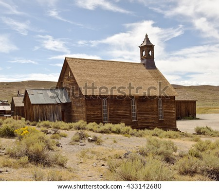 Methodist church in the gold mining ghost town of Bodie, California, a State Historic Park