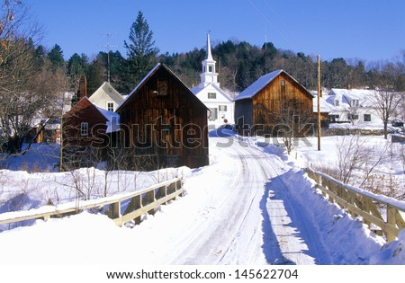 Methodist Church in Waits River, VT in winter snow - stock photo
