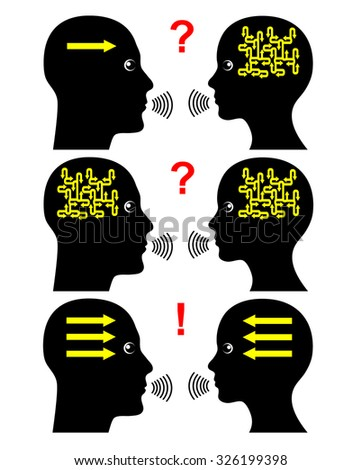 Methods of Communication. Getting messages across successfully depends of the right communication pattern - stock photo