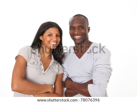 Metis couple standing on white background - stock photo