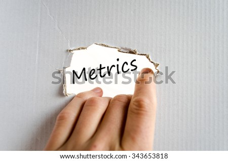 Metrics text concept isolated over white background - stock photo