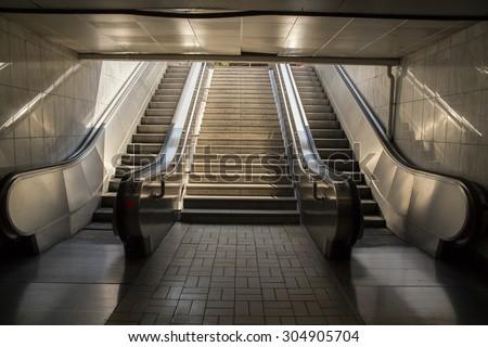 metro Athens steps escalator - stock photo