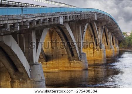 Metro bridge in Kiev closeup, Ukraine - stock photo