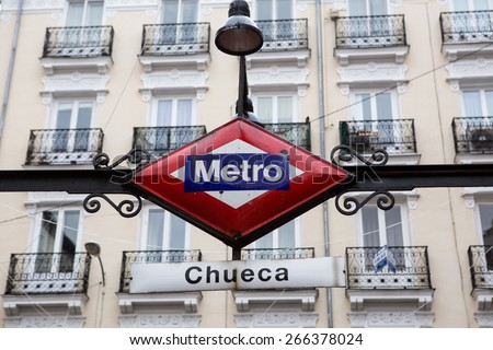 Metro Chueca street sign in Madrid city - stock photo