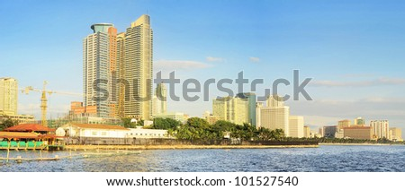 Metro Manila Bay at sunset. Philippines - stock photo