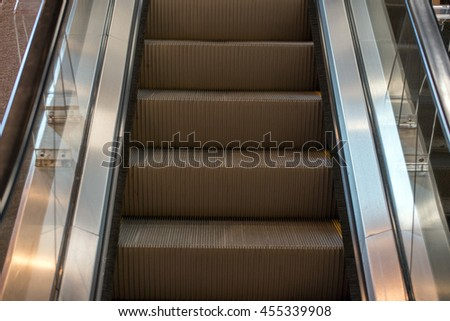 Metro moving escalator with no people view - stock photo
