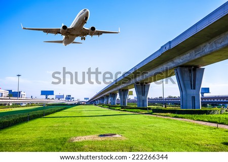 Metro pass through airport in Beijing china - stock photo