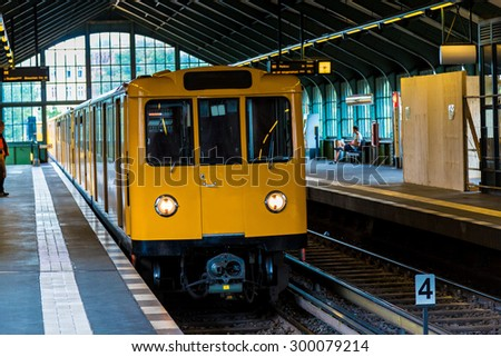 Metro station in Berlin, Germany in a summer day - stock photo