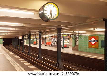 Metro station potsdamer platz in berlin. The U-bahn serves 170 stations spread across ten lines with a total track length over 150 km - stock photo