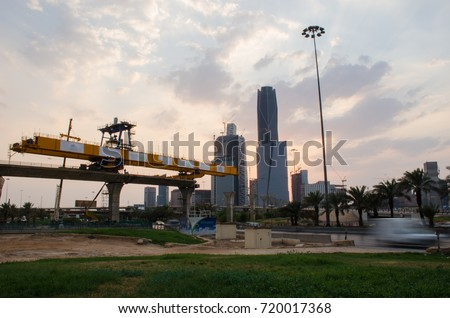Metro/train Building Process in Riyadh City (Sep 2017). Saudi Arabia. Long Shutter Speed