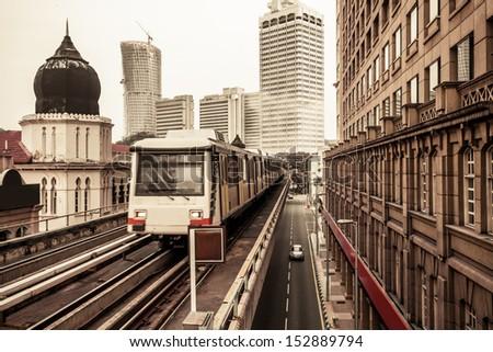 Metro Train in Kuala Lumpur Malaysia - stock photo