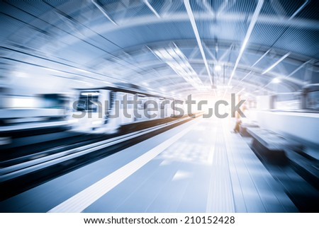 Metro Train with motion blur effect - stock photo