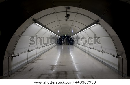 Metro tunnel exit with stairs. - stock photo