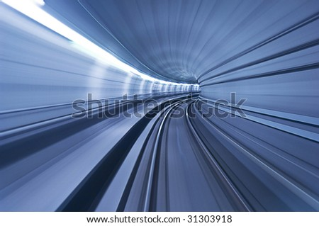 metro tunnel in high speed - stock photo
