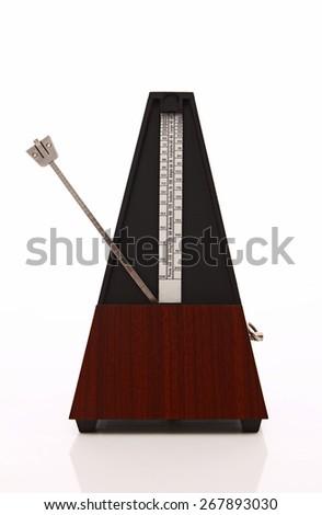 Metronome over white background - stock photo