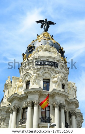 Metropolis Building (Spanish: Edificio Metropolis) is one of the most famous Beaux-Arts style landmark of City of Madrid. It located at the corner of the Calle de Alcala and Gran Via, Madrid, Spain - stock photo