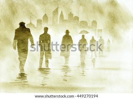 metropolis businessmen and urban smog - stock photo