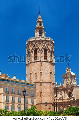Metropolitan Basilica Cathedral with bell tower. Valencia, Spain - stock photo