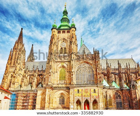Metropolitan Cathedral of Saints Vitus, Wenceslaus and Adalbert.Roman Catholic metropolitan cathedral in Prague, the seat of the Archbishop of Prague. Czech Republic. - stock photo