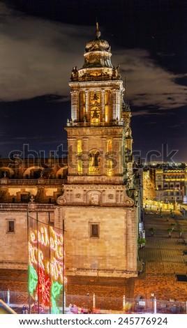 Metropolitan Cathedral Zocalo, Center of Mexico City Christmas Night - stock photo