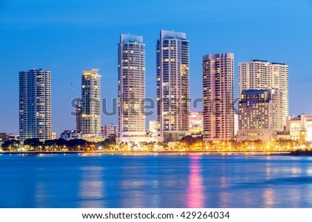 Metropolitan, skyscraper, skyline building by the shore of Gurney Drive, George Town, Penang - stock photo