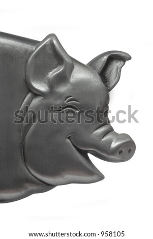 Mettalic laughing pig - stock photo