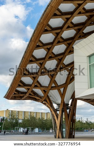 METZ, FRANCE/ EUROPE - SEPTEMBER 24: View of the Pompidou Centre in Metz Lorraine Moselle France on September 24, 2015. Unidentified people.
