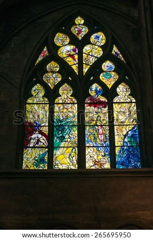 METZ, FRANCE - MARCH 23, 2015: Stained glass window drawn by Marc Chagall in the cathedral of Metz, Lorraine. - stock photo