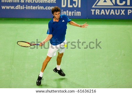 METZ, FRANCE - SEPTEMBER 23: Gilles Simon (FRA, ATP No. 41) defeats Igor Sijsling (The Netherlands, not pictured) in the 1/8 finals of the ATP Open de Moselle on September 23, 2010 in Metz.