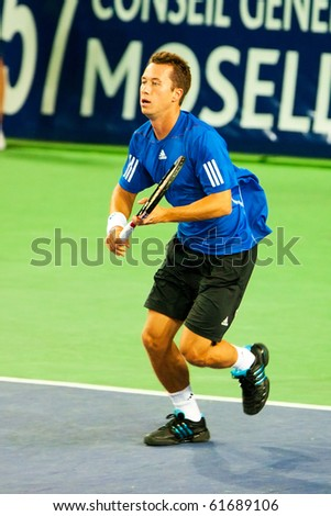 METZ, FRANCE - SEPTEMBER 24: Philipp Kohlschreiber (Germany, ATP No. 31) defeats Marin Cilic (Croatia, not pictured) in the quarterfinals of the ATP Open de Moselle on September 24, 2010 in Metz.