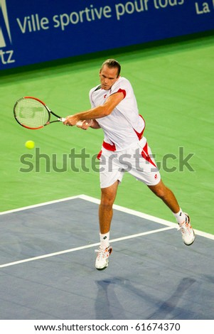 METZ, FRANCE - SEPTEMBER 24: Xavier Malisse (The Netherlands, ATP No. 55) is defeated by Gilles Simon (FRA, not pictured) in the quarterfinals of the ATP Open de Moselle on September 24, 2010 in Metz.