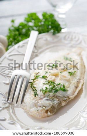 meuniere sole fish - stock photo