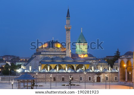 Mevlana musem and great view of Mevlana Square, Konya Turkey at twilight