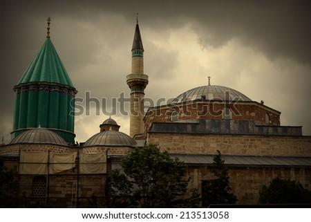 Mevlana museum mosque in Konya - stock photo