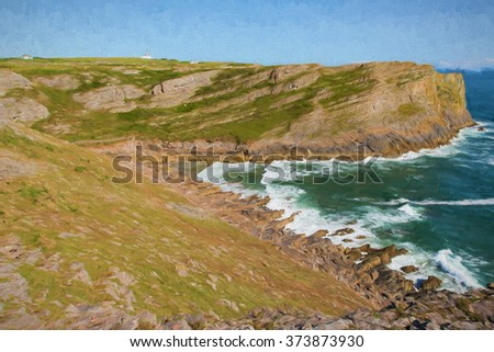 Mewslade Bay The Gower peninsula south coast near Swansea South Wales UK near to Rhossili beach and Fall Bay illustration like oil painting