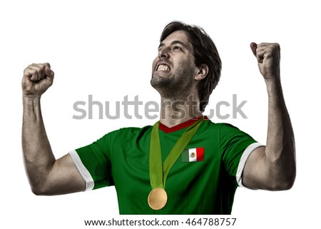 Mexican Athlete Winning a golden medal on a white Background.