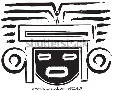Mexican Aztec Mask - stock photo