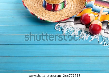 Mexican background, sombrero, copy space - stock photo