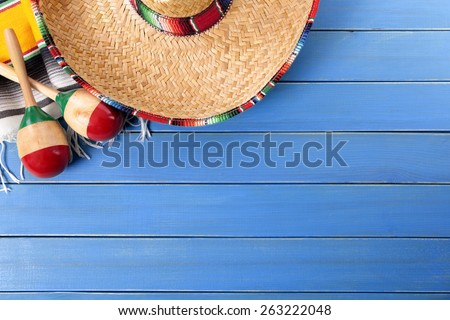 Mexican background, sombrero, top view - stock photo
