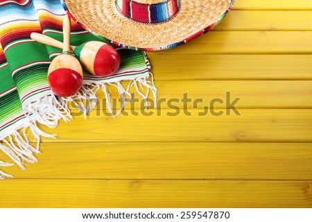 Mexican background, sombrero, wood - stock photo