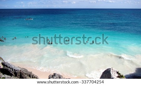 Mexican Beach at Tulum - stock photo