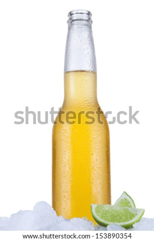 Mexican beer sitting on ice over a white background.