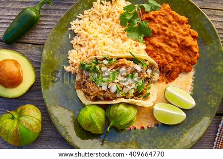 Mexican carnitas tacos with salsa and Mexico food ingredients - stock photo