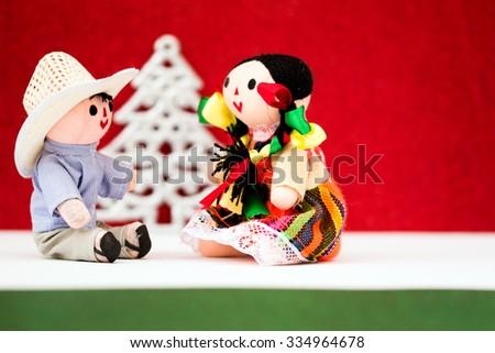 Mexican Christmas (Dolls and Christmas Tree) - stock photo