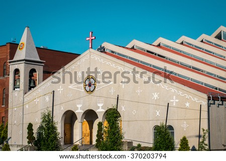 Mexican church with step roof on Rachel street in Montreal Canada - stock photo