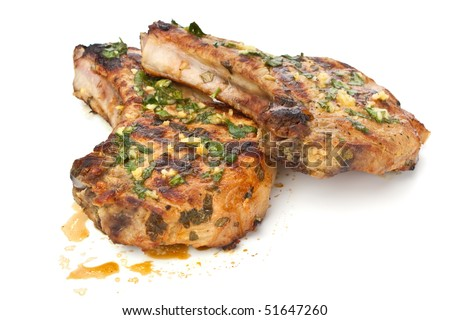 Mexican Citrus Pork Chops - stock photo